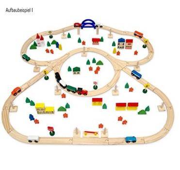 circuito de tren y pueblo de madera
