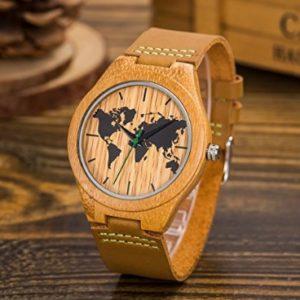 reloj de madera mapamundi comprar barato