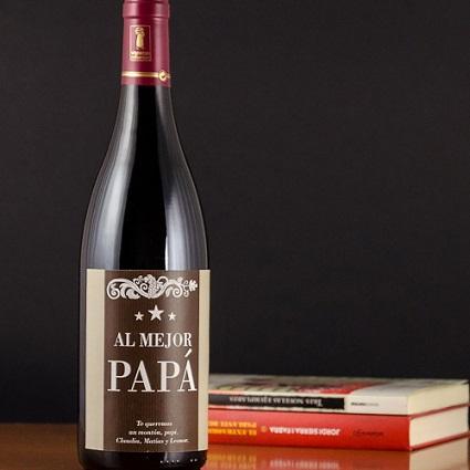 botella de vino al mejor papa