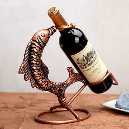 botellero para vino con forma de pez comprar online
