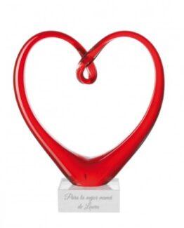escultura corazon con grabado personalizado
